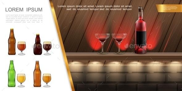 Realistic Bar or Pub Concept - Miscellaneous Vectors