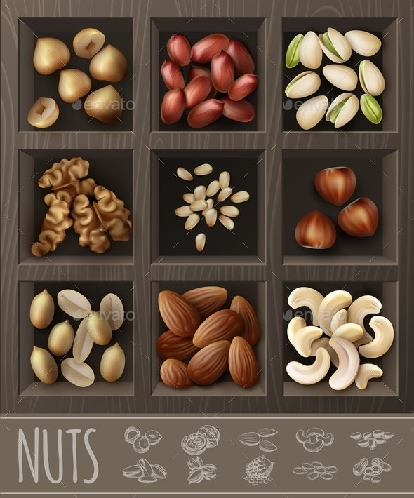 Realistic Organic Nuts Advertising Template - Food Objects
