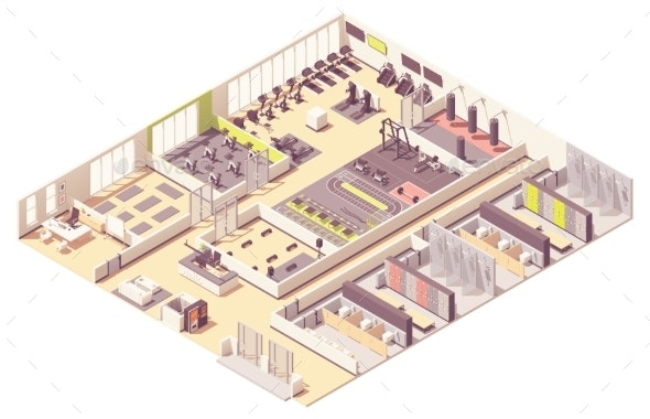 Vector Isometric Fitness Club or Gym Interior - Sports/Activity Conceptual