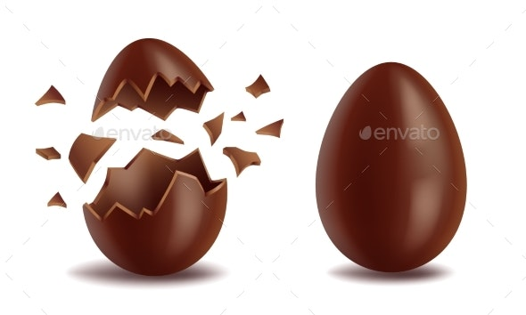 Realistic Chocolate Eggs Set - Miscellaneous Vectors