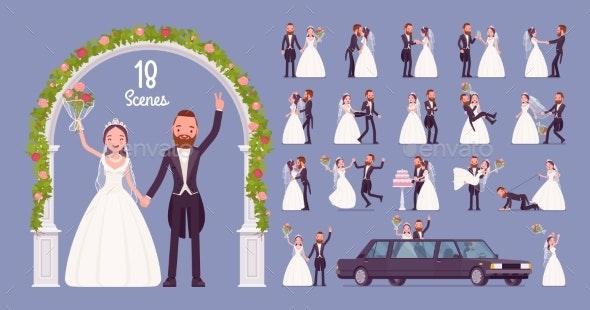 Bride and Groom on Wedding Ceremony Character Set - Weddings Seasons/Holidays