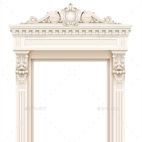 Classic White Architectural Door Facade Frame