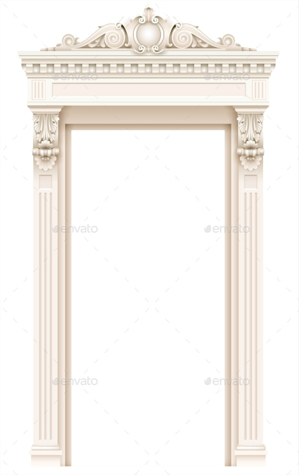 Classic White Architectural Door Facade Frame - Buildings Objects