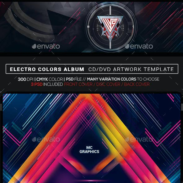 Electro Colors Photoshop CD/DVD Template