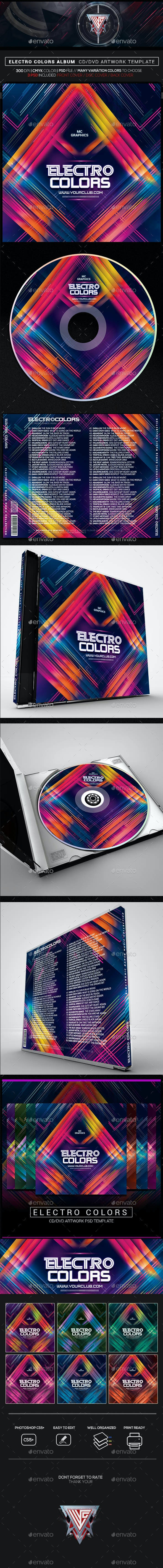 Electro Colors Photoshop CD/DVD Template - CD & DVD Artwork Print Templates