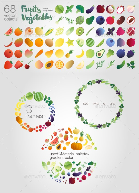 Fruits-n-vegetables (objects) - Objects Illustrations