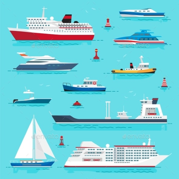 Set of Sea Transports - Man-made Objects Objects