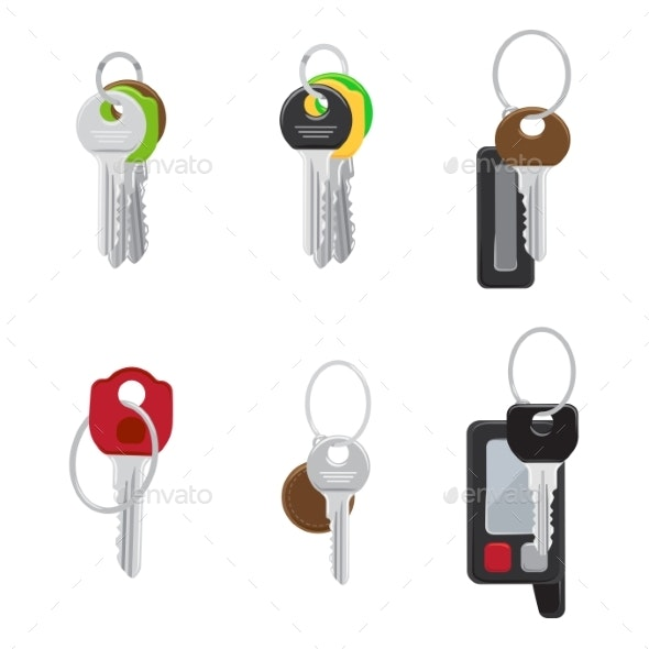 Set of Modern Door and Car Keys Flat Vectors - Man-made Objects Objects