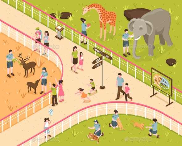 Animal Park Isometric Composition - Animals Characters