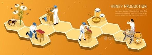 Honey Production Isometric Horizontal Illustration - Industries Business