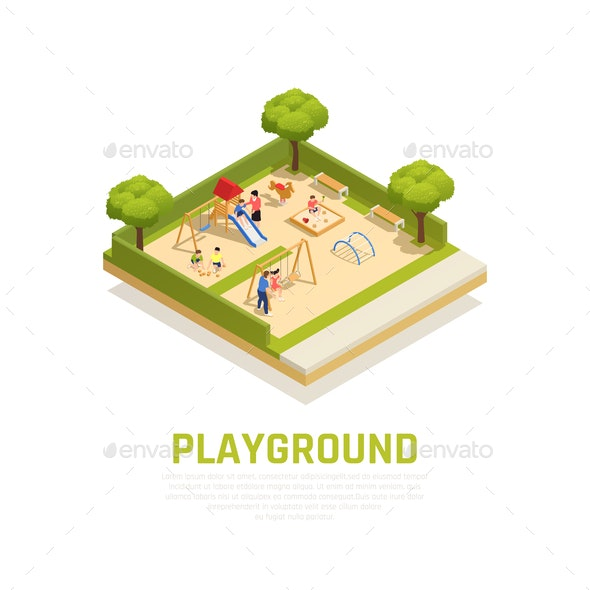 Playground Isometric Concept - Sports/Activity Conceptual