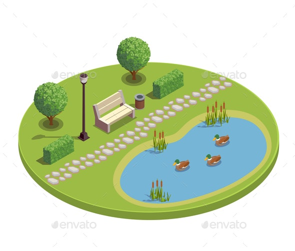 City Park Isometric Round Composition - Flowers & Plants Nature