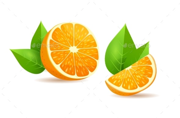 Orange with Leaves Cartoon Isolated Illustration - Food Objects