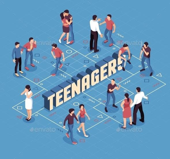Teenagers Isometric Scheme Flowchart - People Characters