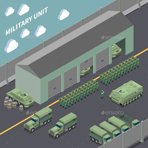 Military Unit Isometric Composition - Industries Business
