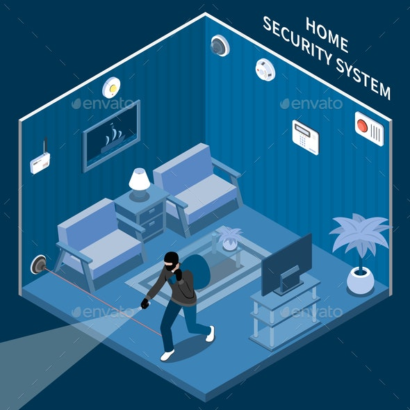 Home Security Isometric Composition - Miscellaneous Conceptual