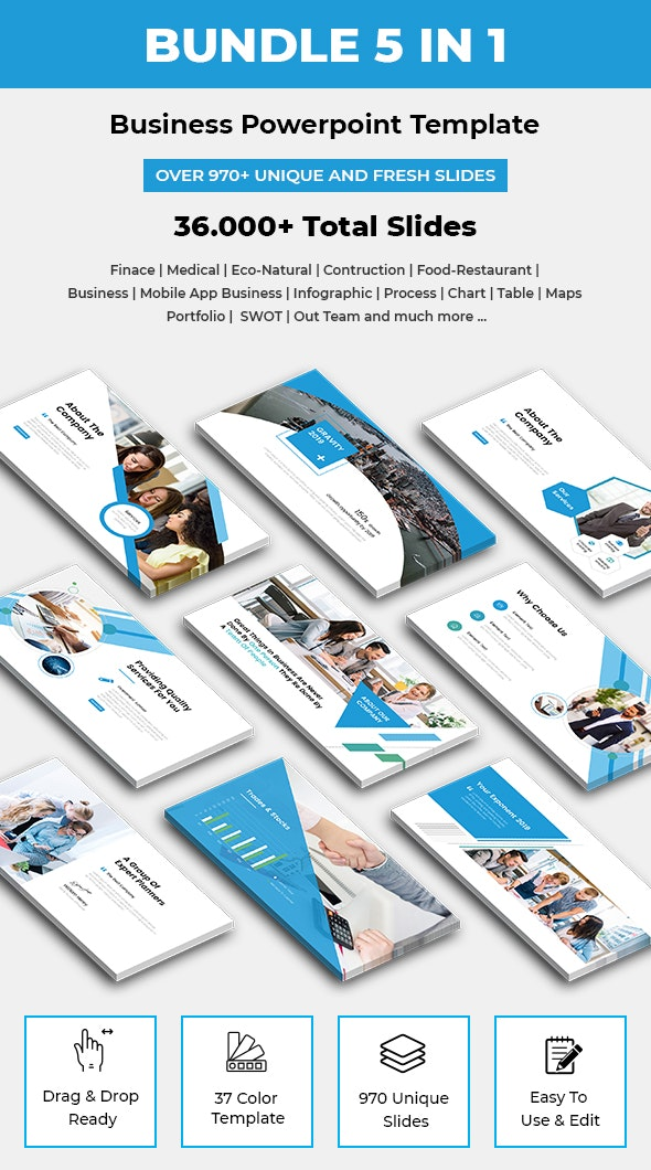 Business Bundle 5 In 1 Powerpoint Template 2019 - Business PowerPoint Templates