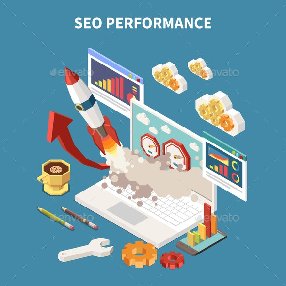 Colored Web SEO Isometric Composition - Concepts Business