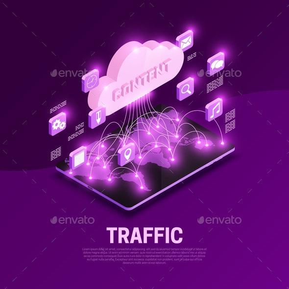 Traffic Isometric Composition - Communications Technology
