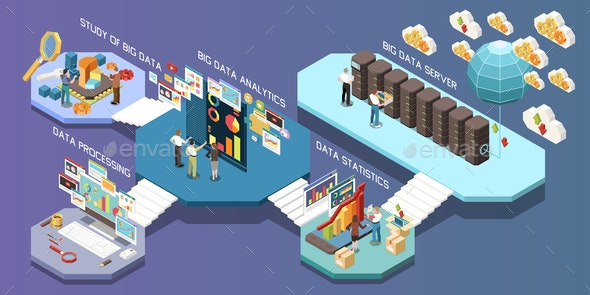 Big Data Analytics Isometric Composition - Concepts Business