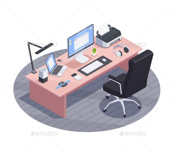 Isometric Workplace Gadgets Composition - Industries Business