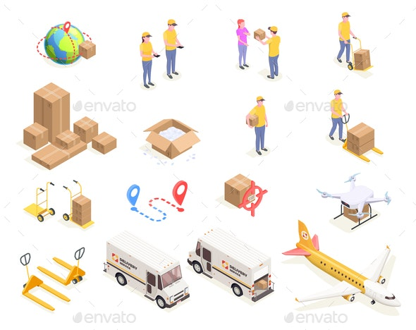 Isometric Logistics Icons Collection - Industries Business