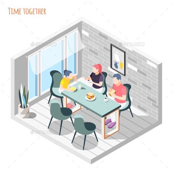 Time Together Isometric Composition - People Characters