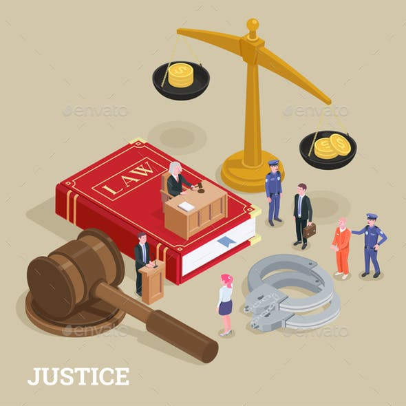 Justice Isometric Law Concept