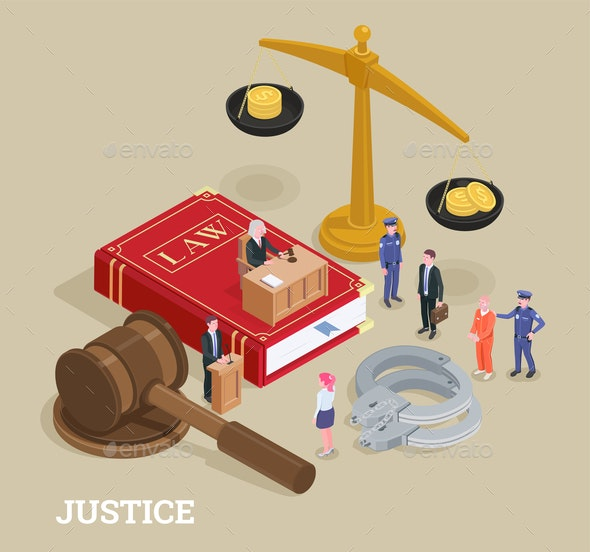 Justice Isometric Law Concept - Miscellaneous Vectors