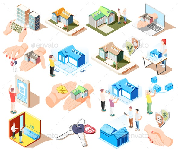 Real Estate Augmented Reality Isometric Icon Set - Buildings Objects