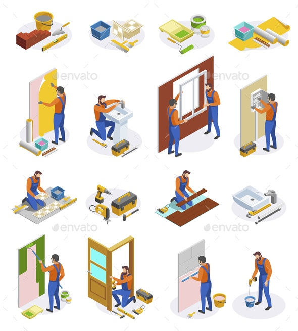 Home Repair Isometric Icons Set - Services Commercial / Shopping