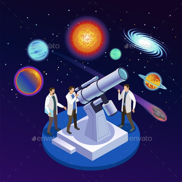 Astrophysics Isometric Composition - Miscellaneous Vectors