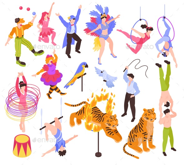 Circus Performers Isometric Set - Industries Business