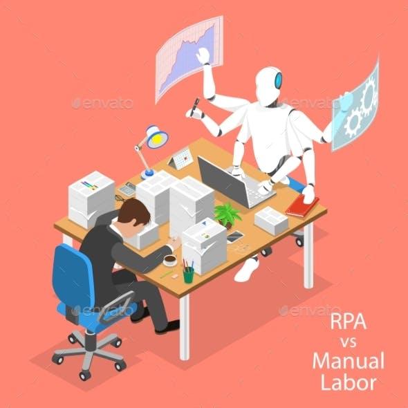 Isometric Flat Vector Concept of RPA Vs Manual