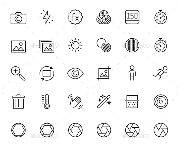 Photography and Digital Camera Related Icon Set - Technology Icons
