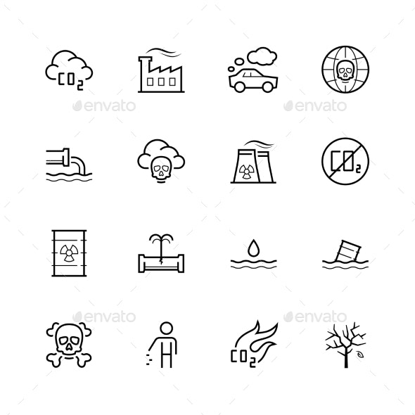 Vector Pollution Icon Set in Thin Line Style - Miscellaneous Icons