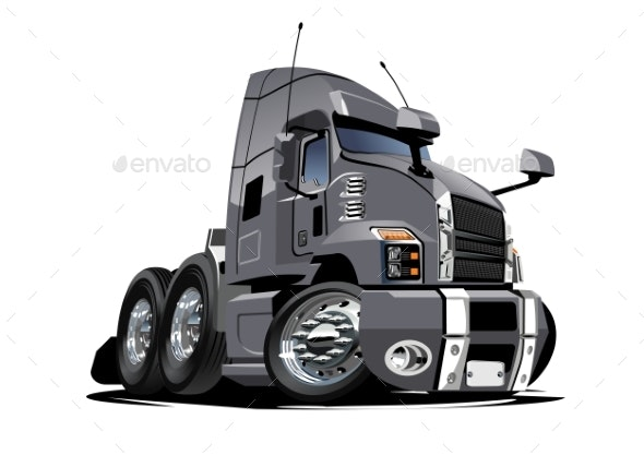 Cartoon Semi Truck Isolated on White Background - Man-made Objects Objects