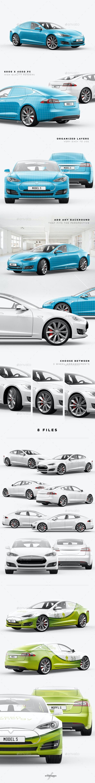 Model S Electric Car Mockup - Vehicle Wraps Print