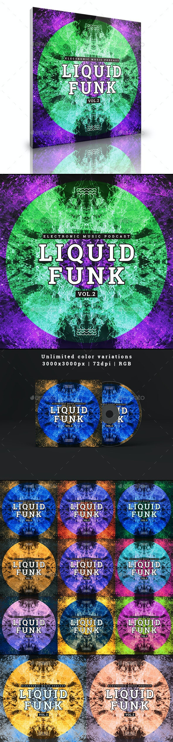 Liquid Funk Electronic Music Podcast Album Cover Web Template - Miscellaneous Social Media