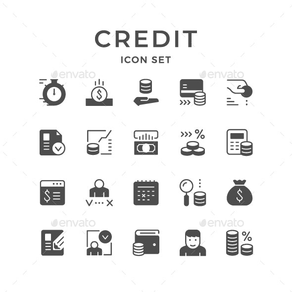 Set Icons of Credit - Man-made objects Objects