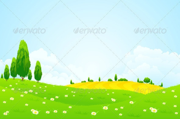 Green Landscape with  Flowers - Landscapes Nature