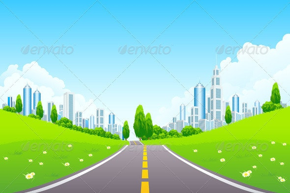 City Landscape with Trees and Road - Backgrounds Business