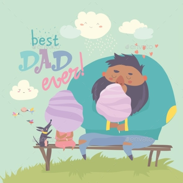 Father with His Daughter Eating Cotton Candy - People Characters