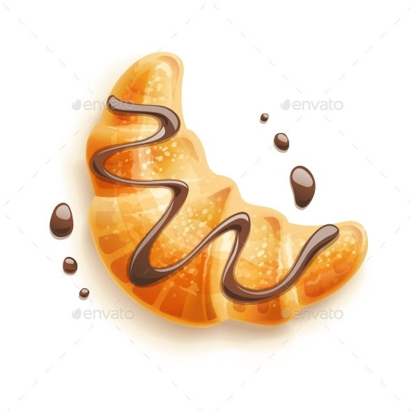 Croissant with Chocolate - Food Objects