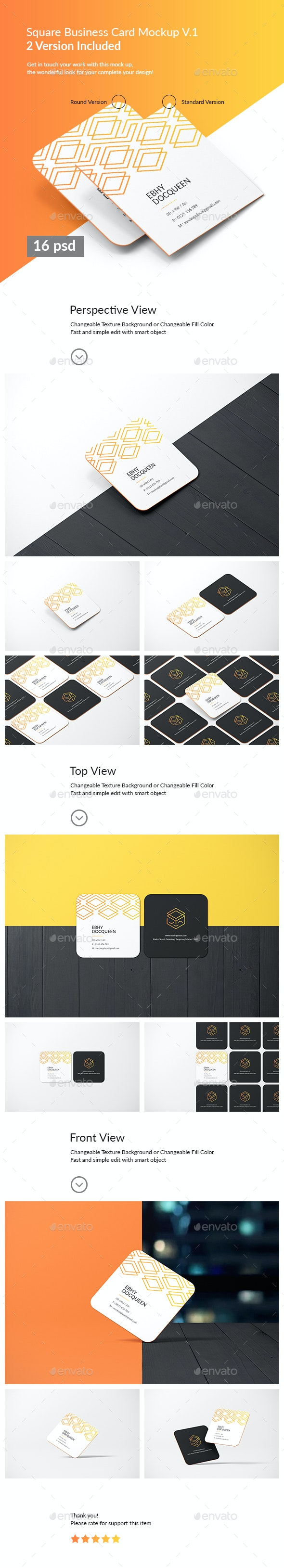 Square Business Card Mockup - Product Mock-Ups Graphics