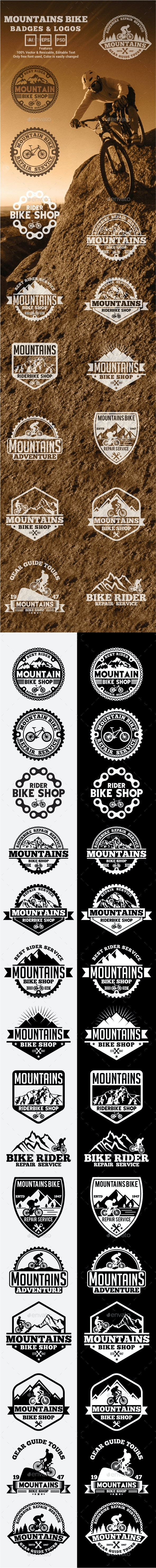 Mountains Bike Logos and Badges - Badges & Stickers Web Elements