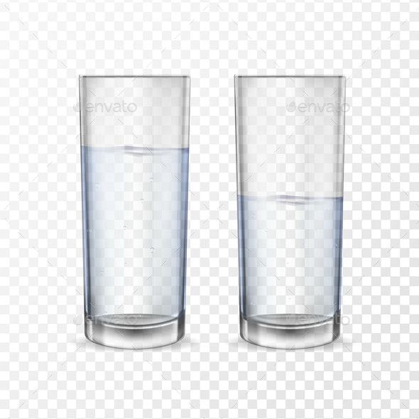 Realistic Glasses for Drinks with Water - Miscellaneous Vectors