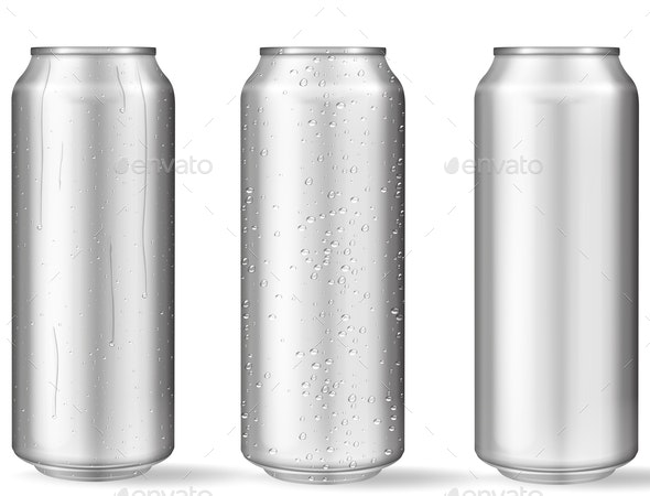 Realistic Aluminum Cans with Water Drops - Man-made Objects Objects