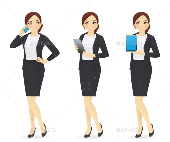 Business Woman with Gadgets - People Characters