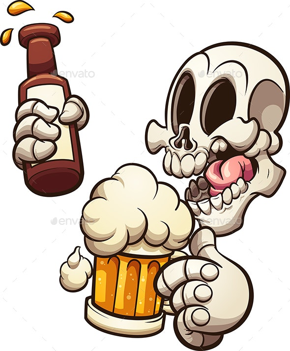 Skull Having a Beer - Halloween Seasons/Holidays